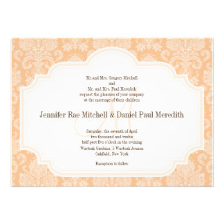 DIY Custom Wedding Invitations Peach Damask