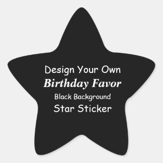 DIY Design Customized Birthday Favor Black White Star Sticker