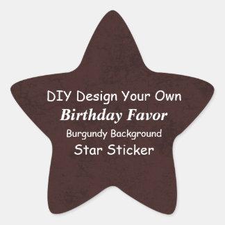 DIY Design Your Own Burgundy Grunge Birthday Favor Star Sticker