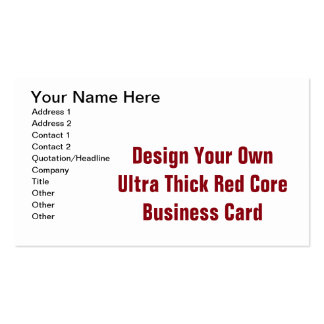 DIY  Design Your Ultra Thick Red Core Pack Of Standard Business Cards