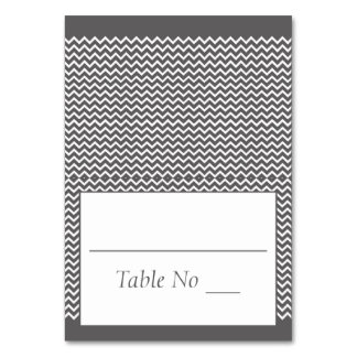 DIY Fold Tented Place Cards Chevron Grey Table Cards