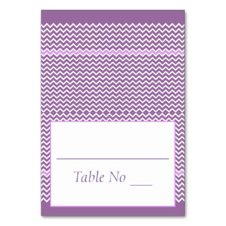 DIY Fold Tented Place Cards Chevron Purple Table Card