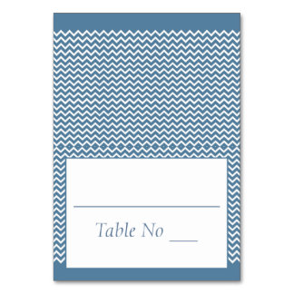 DIY Fold Tented Place Cards Chevron Sea Blue Table Card