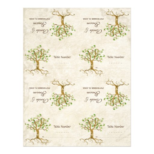 DIY Kit - Table Cards Swirl Tree Roots Antiqued Custom Flyer