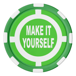 DIY Make It Yourself green and white Poker Chips