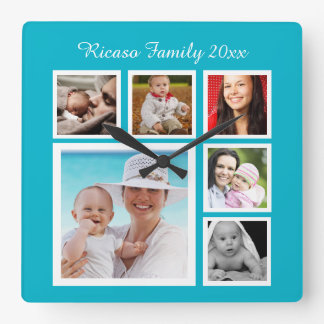DIY Make Your Own Photo Collage Template Square Wall Clock