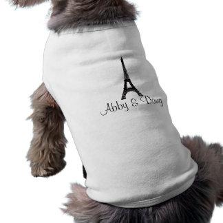 DIY Monogram Eiffel tower design Sleeveless Dog Shirt