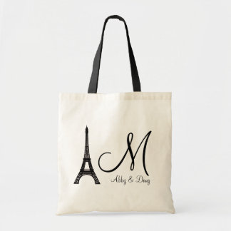 DIY Monogram Eiffel tower design Tote Bag