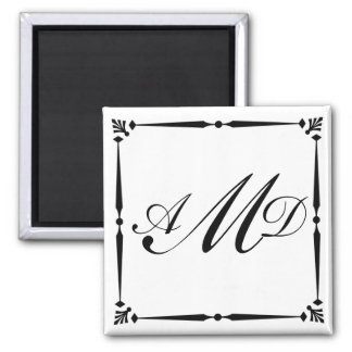 DIY Monogram template with decorative border Magnet