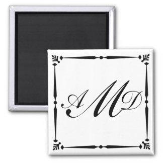 DIY Monogram template with decorative border Refrigerator Magnets