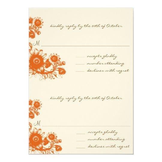 DIY Orange Vintage Flower RSVP Wedding Invitation