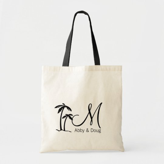 DIY Palm Tree Destination Logo Tote Bag