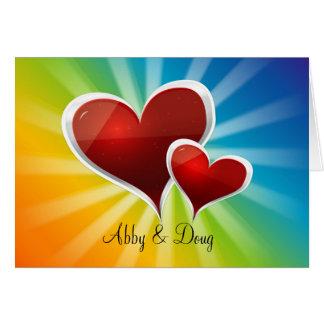 diy Rainbow hearts Card