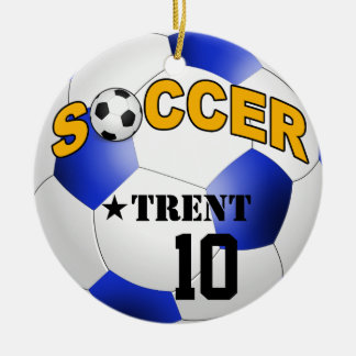 DIY Soccer Ball CHOOSE YOUR BACKGROUND COLOR Christmas Ornament