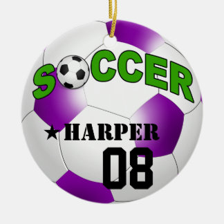 DIY Soccer Ball CHOOSE YOUR BACKGROUND COLOR Double-Sided Ceramic Round Christmas Ornament