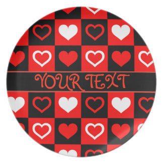 DIY  TEMPLATE MELAMINE PLATE,  RED +  BLACK HEARTS PLATE