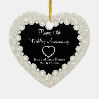 DIY Wedding Anniversary in White Faux Glitter Ceramic Heart Decoration