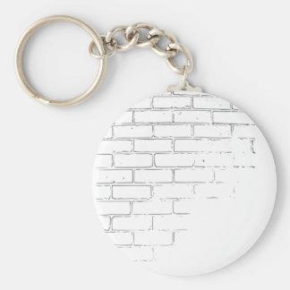 DIY White Brick Wall to write Graffiti Basic Round Button Key Ring