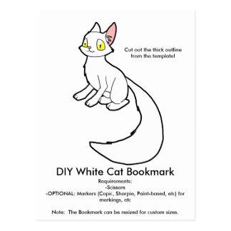 DIY White Cat Bookmark Postcard