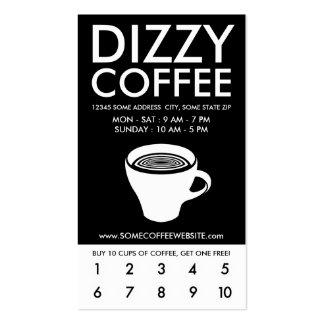 dizzy coffee loyalty program pack of standard business cards