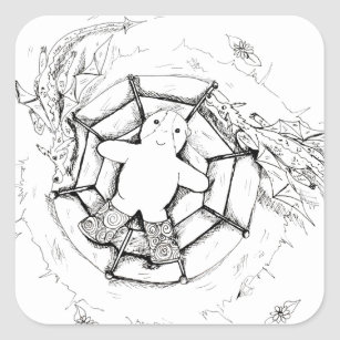 Dizzy Cutie and her Dragon Friends Ink Drawing Square Sticker