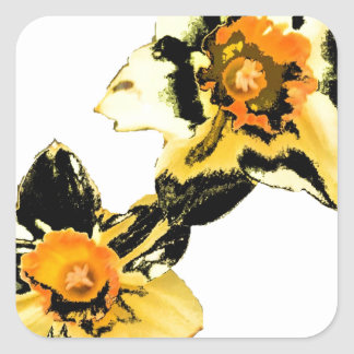 Dizzy Daff - Yellow Square Sticker