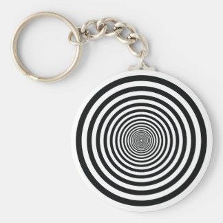 dizzy illusion black and white circle art vo1 basic round button key ring