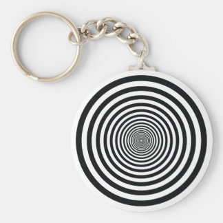 dizzy illusion black and white circle art vo1 key ring