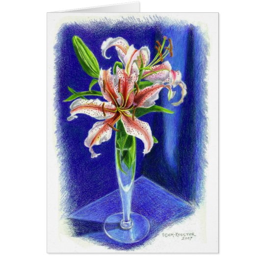 Dizzy Oriental Lily in coloured pencil Card