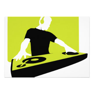 dj-311764 dj disc jockey green black deck records personalized invites