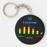 Dj Add Your Name Personal Equalizer Bar EQ Basic Round Button Key Ring