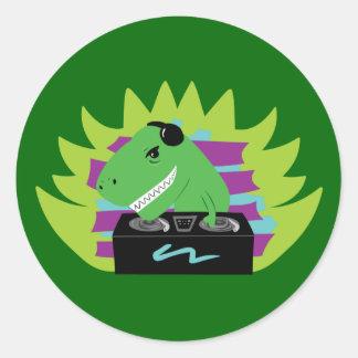 Dj-asaurus Rex Round Sticker