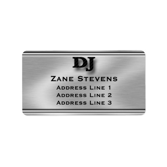 DJ Brushed Silver Chrome Address Labels