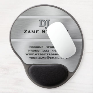 DJ Brushed Silver Chrome Gel Mouse Pad
