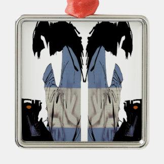 DJ CHRIS DIABLO - DJ LOGO 6 Silver-Colored SQUARE DECORATION