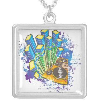 DJ Control Panel Silver Plated Necklace