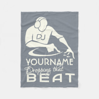 DJ custom name & color fleece blanket