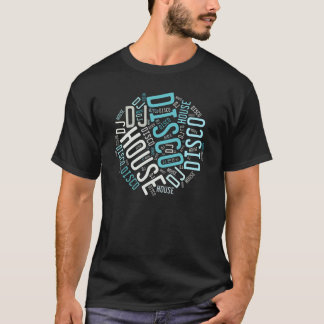 dj disco house music round design on dark T-Shirt