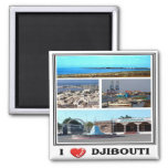 DJ - Djibouti - I Love - Collage Mosaic Square Magnet