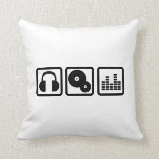 DJ Equalizer headphones vinyl Throw Pillow