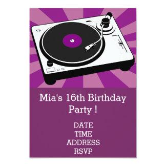 DJ funky cool retro teenage girls birthday party 13 Cm X 18 Cm Invitation Card