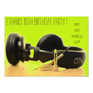 DJ funky cool teenage boys birthday party 13 Cm X 18 Cm Invitation Card