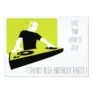 DJ Funky Cool Teenage Boys Birthday Party Invitation