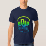 DJ headphones green blue ad your own name tee
