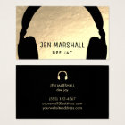 DJ headphones on faux gold foil Business Card