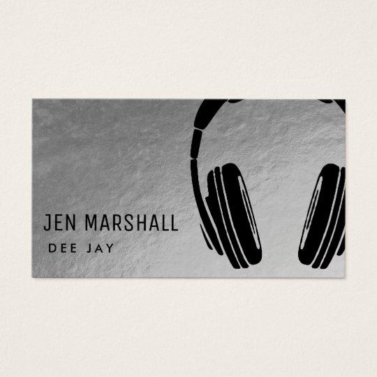 DJ headphones on faux silver Business Card
