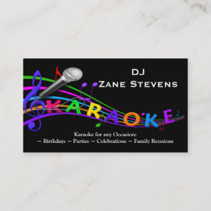Dj business cards zazzle uk dj karaoke business card template reheart Images
