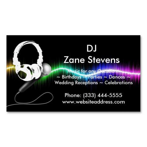 DJ Microphone Headphones Business Card Magnet Magnetic