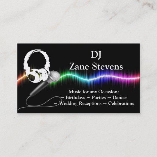 Dj microphone headphones business card template zazzle dj microphone headphones business card template accmission Images