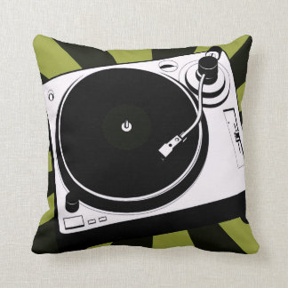 Dj music turntable disc jockey throw pillow green